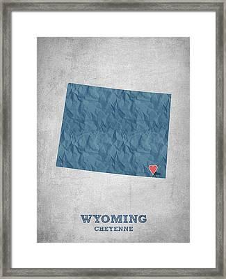 I Love Cheyenne Wyoming - Blue Framed Print by Aged Pixel