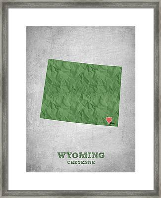 I Love Cheyenne Wyoming - Green Framed Print by Aged Pixel