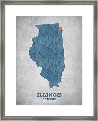 I Love Chicago Illinois - Blue Framed Print