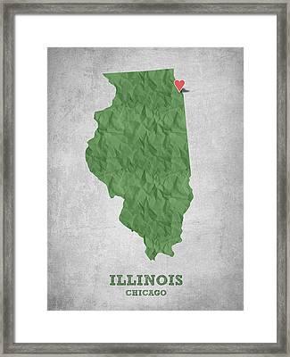 I Love Chicago Illinois - Green Framed Print
