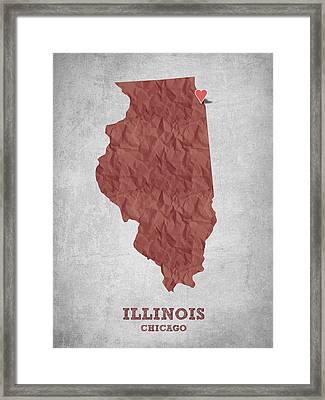 I Love Chicago Illinois - Red Framed Print