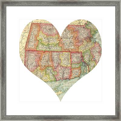 I Love Conneticut Rhode Island And Massachusetts Heart Map Framed Print by Georgia Fowler