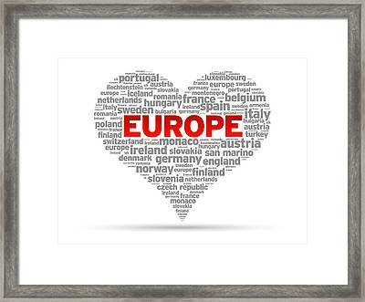 I Love Europe Framed Print by Aged Pixel