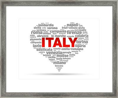 I Love Italy Framed Print by Aged Pixel