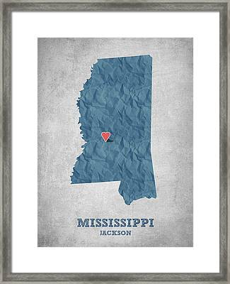 I Love Jackson Mississippi - Blue Framed Print by Aged Pixel