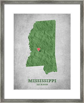 I Love Jackson Mississippi - Green Framed Print by Aged Pixel