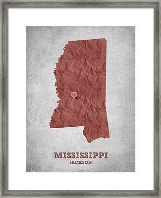 I Love Jackson Mississippi - Red Framed Print by Aged Pixel
