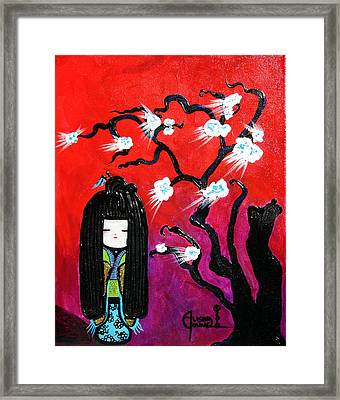 I Love Kokeshi Framed Print by Ohso Faboolus