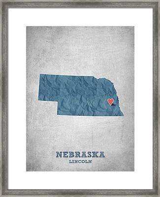 I Love Lincoln Nebraska - Blue Framed Print