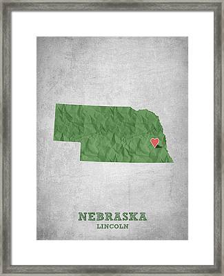 I Love Lincoln Nebraska - Green Framed Print by Aged Pixel