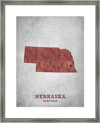 I Love Lincoln Nebraska - Red Framed Print