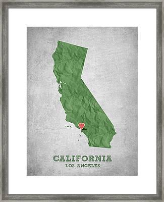I Love Los Angeles California - Green Framed Print