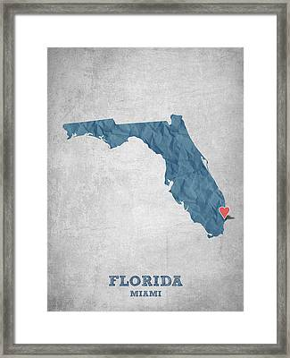 I Love Miami Florida - Blue Framed Print by Aged Pixel