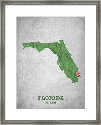 I Love Miami Florida - Green Framed Print by Aged Pixel
