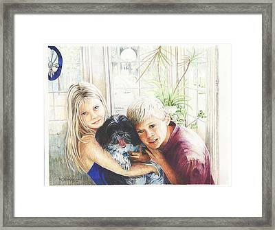 Framed Print featuring the painting I Love My Dog by Patricia Schneider Mitchell