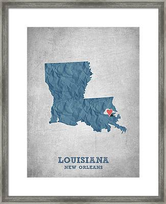 I Love New Orleans Louisiana - Blue Framed Print by Aged Pixel