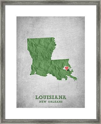 I Love New Orleans Louisiana - Green Framed Print by Aged Pixel