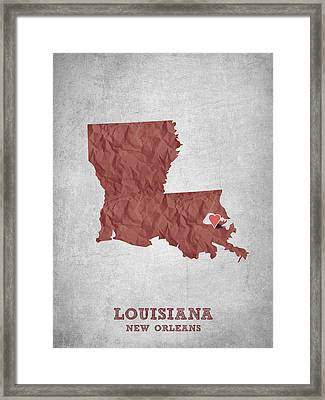 I Love New Orleans Louisiana - Red Framed Print by Aged Pixel
