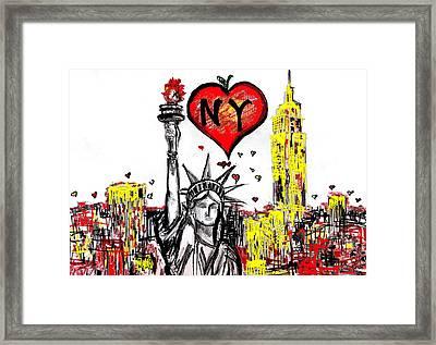 I Love Ny Framed Print by Sladjana Lazarevic
