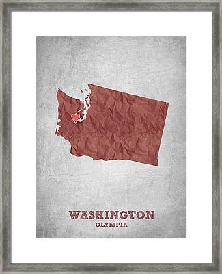 I Love Olympia Washington- Red Framed Print by Aged Pixel