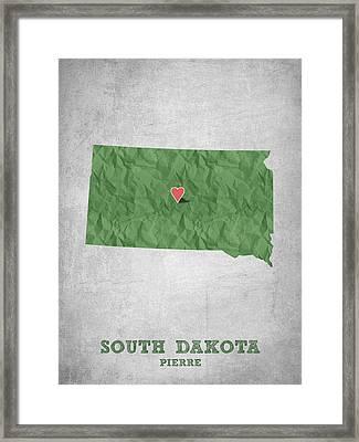 I Love Pierre South Dakota - Green Framed Print by Aged Pixel