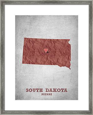 I Love Pierre South Dakota - Red Framed Print by Aged Pixel
