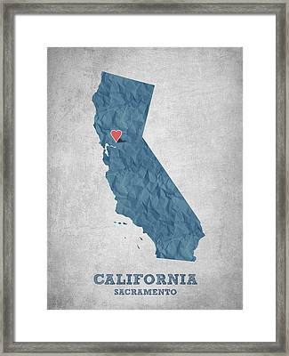 I Love Sacramento California - Blue Framed Print by Aged Pixel