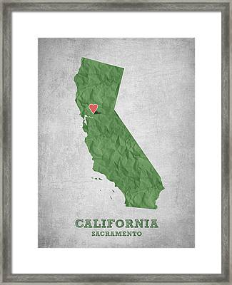 I Love Sacramento California - Green Framed Print by Aged Pixel