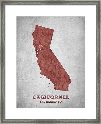 I Love Sacramento California - Red Framed Print by Aged Pixel