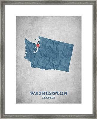 I Love Seattle Washington- Blue Framed Print