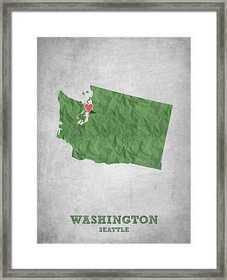 I Love Seattle Washington- Green Framed Print