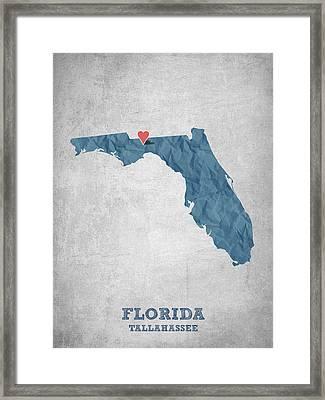 I Love Tallahassee Florida - Blue Framed Print