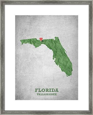 I Love Tallahassee Florida - Green Framed Print by Aged Pixel