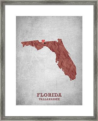 I Love Tallahassee Florida - Red Framed Print by Aged Pixel