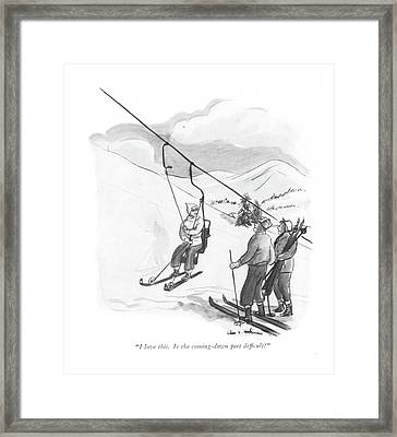 I Love This. Is The Coming-down Part Dif?cult? Framed Print
