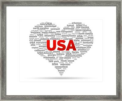 I Love Usa Framed Print by Aged Pixel