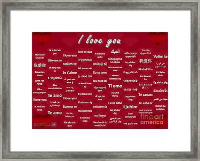 I Love You Framed Print by J McCombie