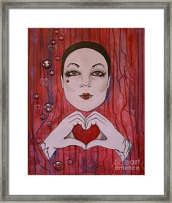 Framed Print featuring the painting I Love You by Jane Chesnut