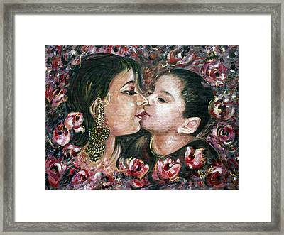 Framed Print featuring the painting I Love You Mom by Harsh Malik