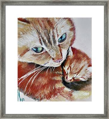 Framed Print featuring the drawing I Love You Mommy by Maja Sokolowska