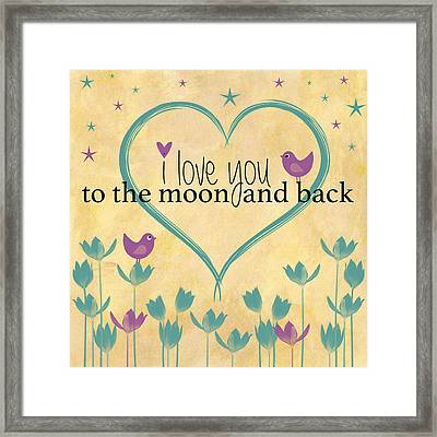 I Love You To The Moon And Back Word Art Illustration Vintage Background Framed Print