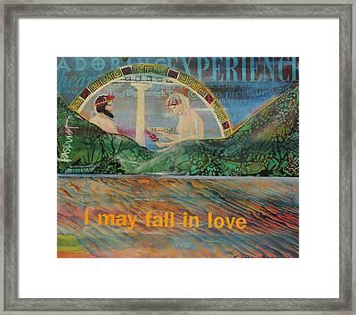Beach Mountain Green Butterflies Basquiat Delphi Oracle Sky I May Fall In Love  Framed Print