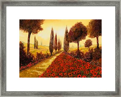 I Papaveri In Estate Framed Print by Guido Borelli