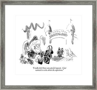 I Really Don't Have Any Special Requests Framed Print by Donald Reill