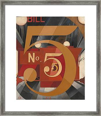 I Saw The Figure 5 In Gold Framed Print by Charles Demuth