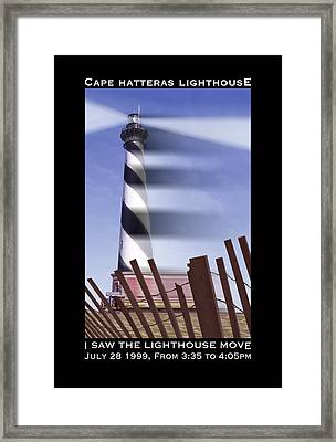 I Saw The Lighthouse Move Framed Print by Mike McGlothlen