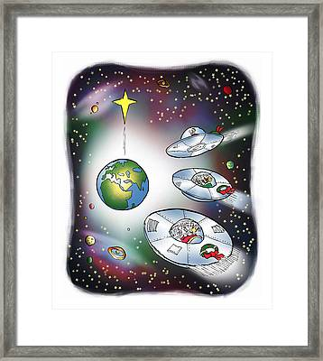 We Three Spacemen Framed Print