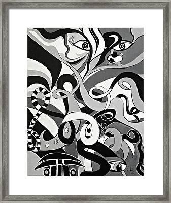 I Seek U - Abstract Eye Paintings, Black And White Eye Art - Ai P. Nilson Framed Print