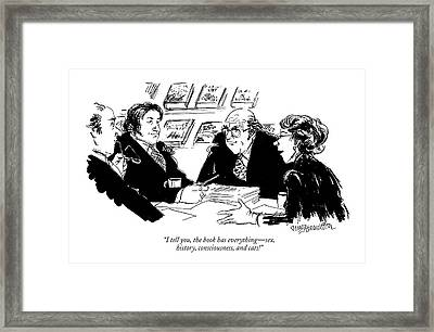 I Tell You, The Book Has Everything - Sex Framed Print by William Hamilton