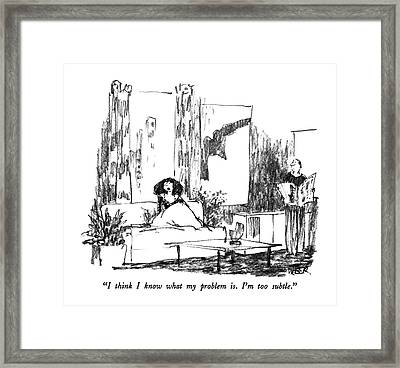 I Think I Know What My Problem Is.  I'm Framed Print by Robert Weber